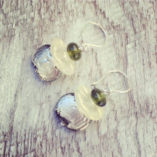 Recycled glass earrings | handmade glass beads made from gin, wine and champagne bottles