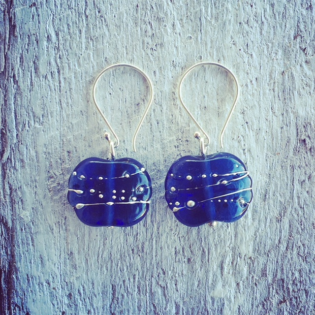 Recycled glass earrings | these earrings were made from a Dior perfume bottle