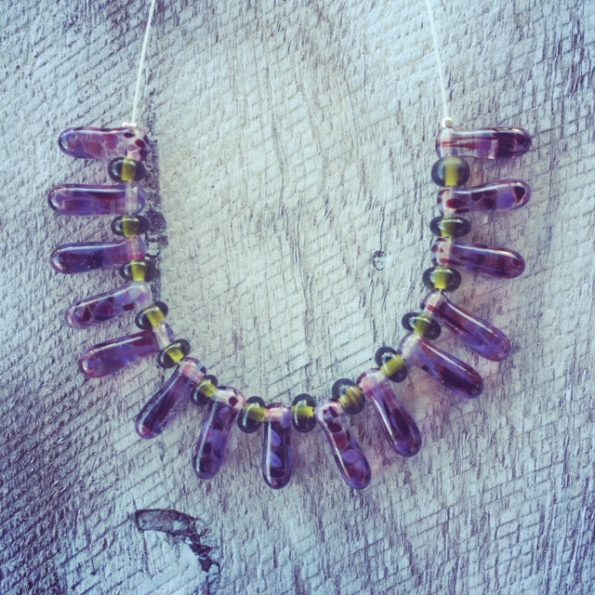 Recycled glass necklace | all beads were made from a wine bottle