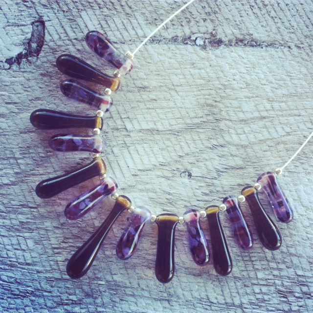Recycled glass necklace | purple beads made from a wine bottle mixed with beer bottle beads