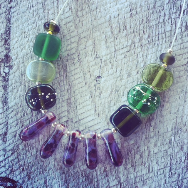 Recycled glass necklace | beads made from wine and gin bottles