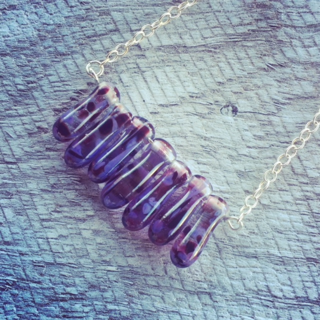 Recycled glass necklace | purple beads made from a wine bottle