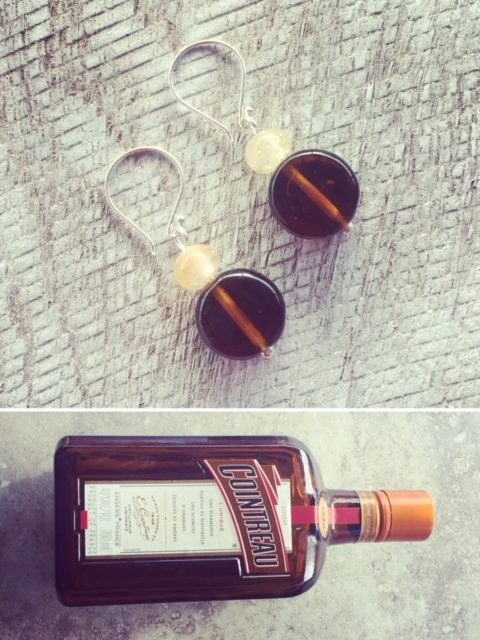 Recycled glass earrings | beads made from a Cointreau bottle