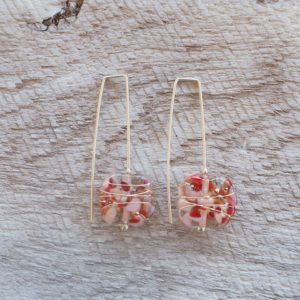 Recycled glass earrings | beautiful red and pink toned earrings
