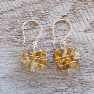 Recycled glass earrings | pretty brown beads made from a wine bottle