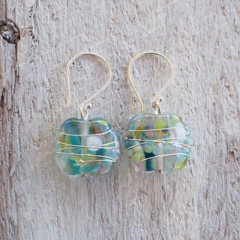 Recycled glass earrings   pretty blue/green earrings made from a wine bottle