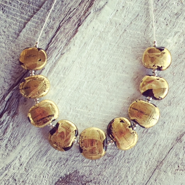 Recycled glass necklace | beads made from a beer bottle with gold leaf