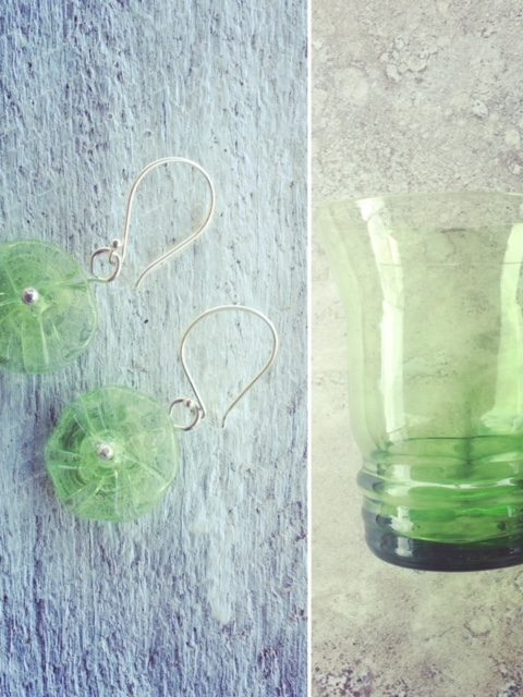 Recycled glass earrings | made from this beautiful cup
