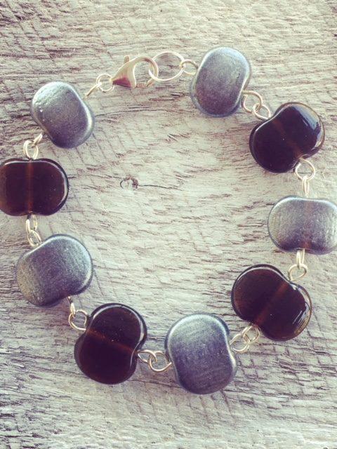 Recycled glass bracelet | beads made from a Hendricks Gin bottle