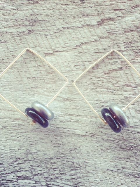 Recycled glass earrings | beads made from a Hendricks Gin bottle, perfect for gin o'clock