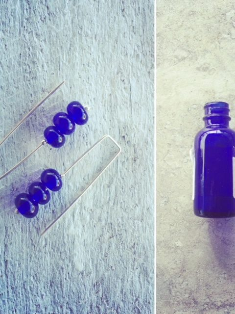 Recycled glass | cobalt blue earrings made from medicine bottles