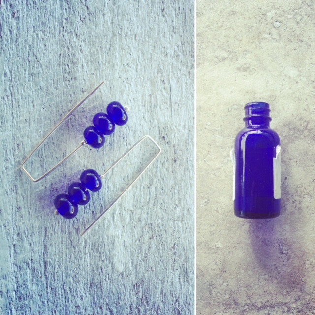Recycled glass | cobalt blue earrings made from medicine bottles