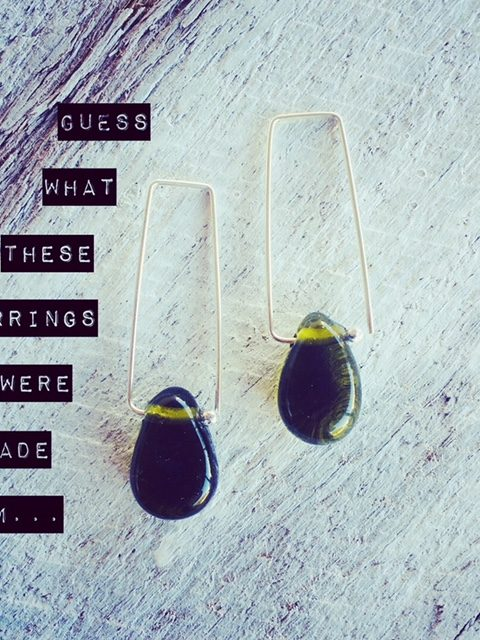 Recycled glass earrings | beads made from an olive oil bottle