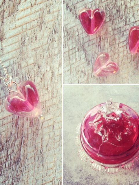 Recycled glass earrings | beads made from Ruby Glass