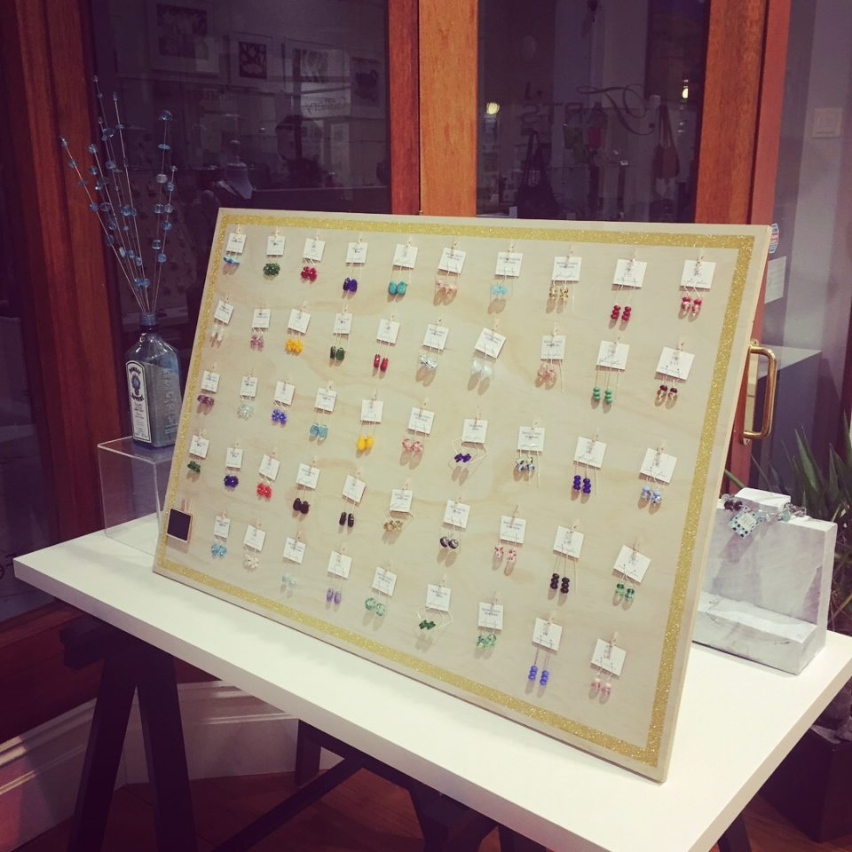 Recycled glass earrings | a mix of earrings on display at T'Arts in Adelaide