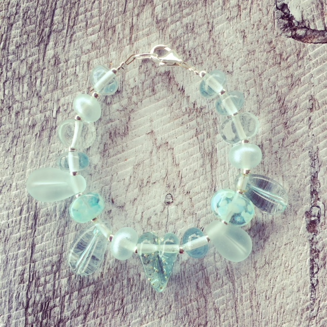 Recycled glass bracelet | beads made from a Banrock Station wine bottle