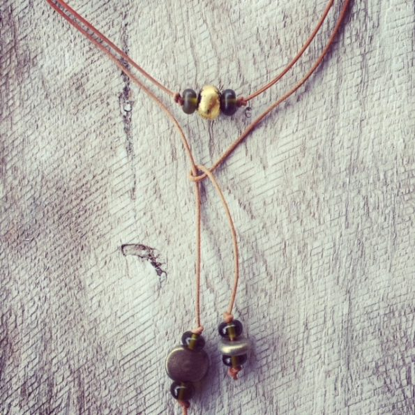 Recycled glass jewellery   a casual lariat made from beer and champagne bottles