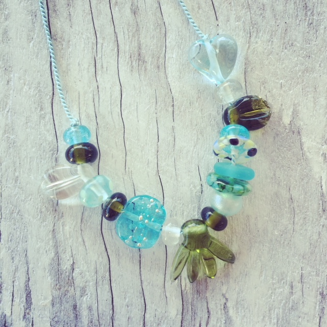 Recycled glass necklace | beads made from wine and gin bottles on silk cord