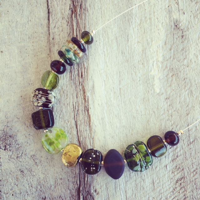 Recycled glass necklace | beads made from beer, wine and Champagne bottles