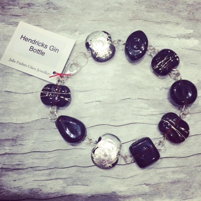 Recycled glass bracelet   beads made from a Hendricks Gin bottle