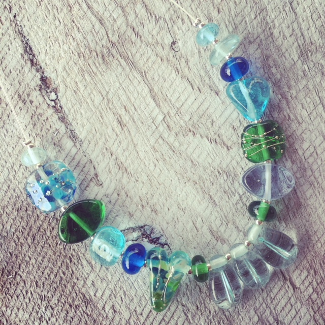 Recycled glass necklace   glass beads made from wine and gin bottles