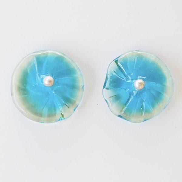Blue flower stud earrings