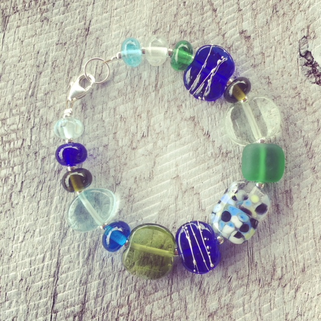 Recycled glass bracelet | mix of recycled glass beads in this bracelet