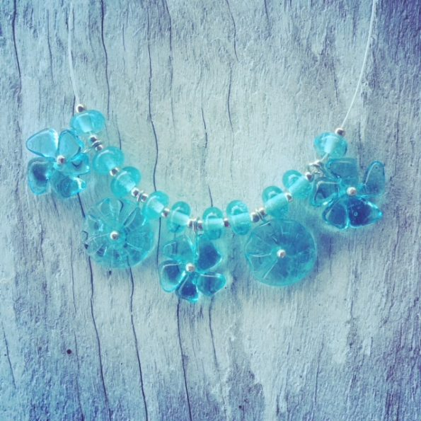 Recycled glass necklace | glass flower necklace made from a Bombay Sapphire Gin bottle