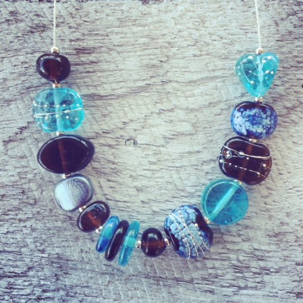 Recycled glass necklace | beads made from Bombay Sapphire and Hendricks Gin bottles