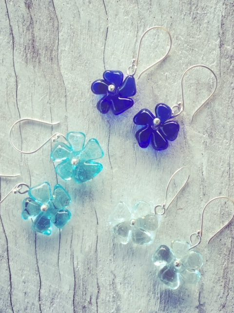 Recycled glass earrings | blue flower earrings made from vodka, gin and wine bottles