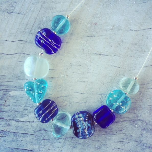 Recycled glass necklace | beads made from vodka, gin and wine bottles