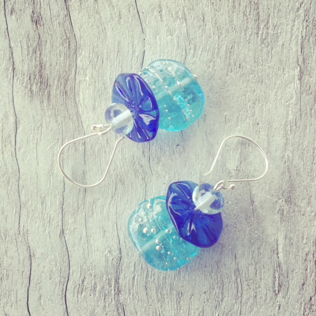 Recycled glass earrings | beads made from wine, vodka and gin bottles