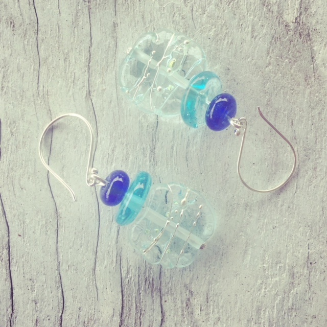 Recycled glass earrings | beads made from wine, gin and vodka bottles