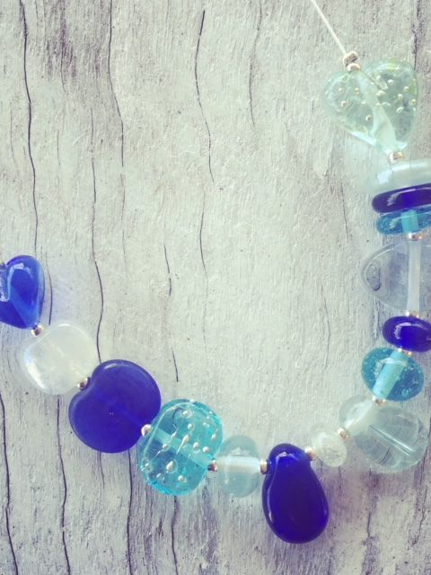 Recycled glass necklace   beads made from gin, wine and vodka bottles