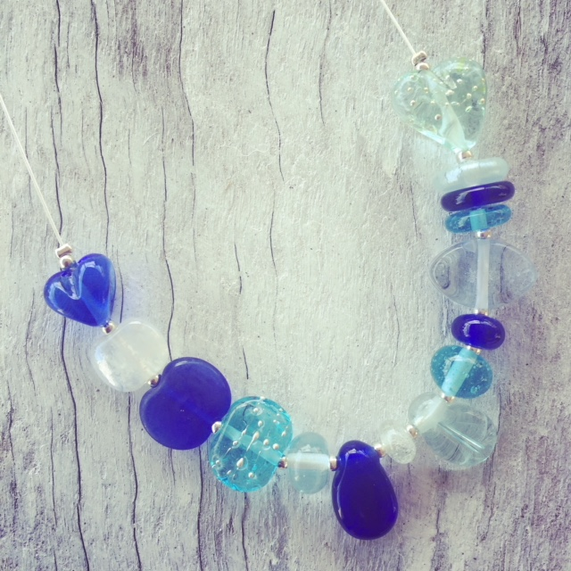 Recycled glass necklace | beads made from gin, wine and vodka bottles