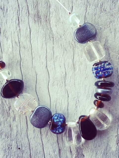Recycled glass necklace | beads made from gin and tonic water bottles