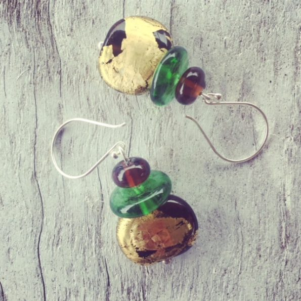 Recycled glass earrings | gold leaf beer bottle beads
