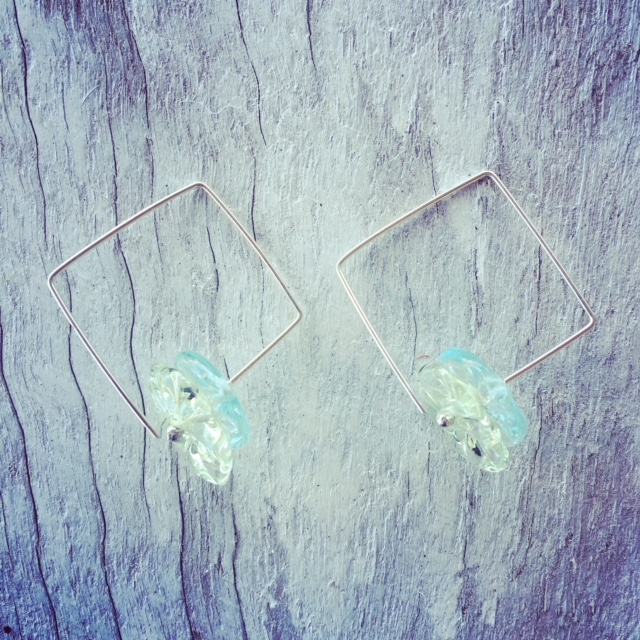 Recycled glass earrings | beads made from Green Depression Glass and a Banrock Station wine bottle