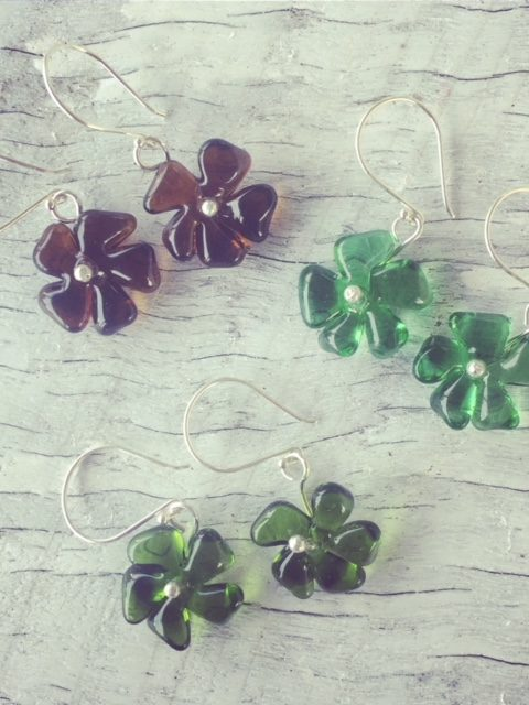 Recycled glass earrings | flower earrings made from Gin and Champagne bottles