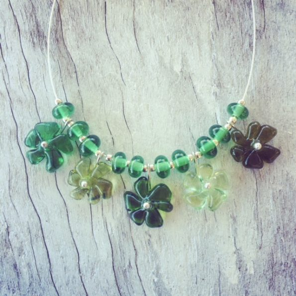Recycled glass necklace | flower beads made from wine and gin bottles