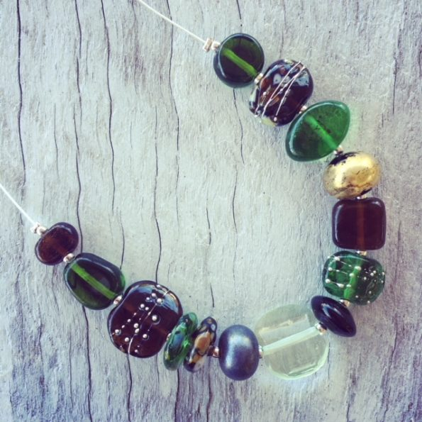 Recycled glass necklace | beads made from Green Depression Glass, gin and beer bottles