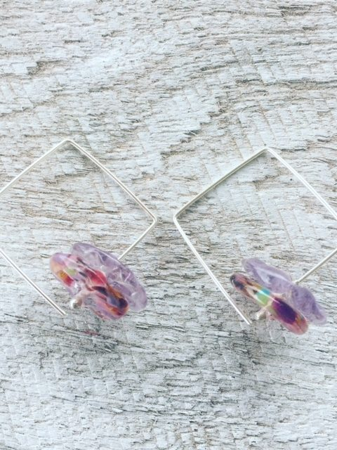 Recycled glass earrings   square hoops with recycled glass beads