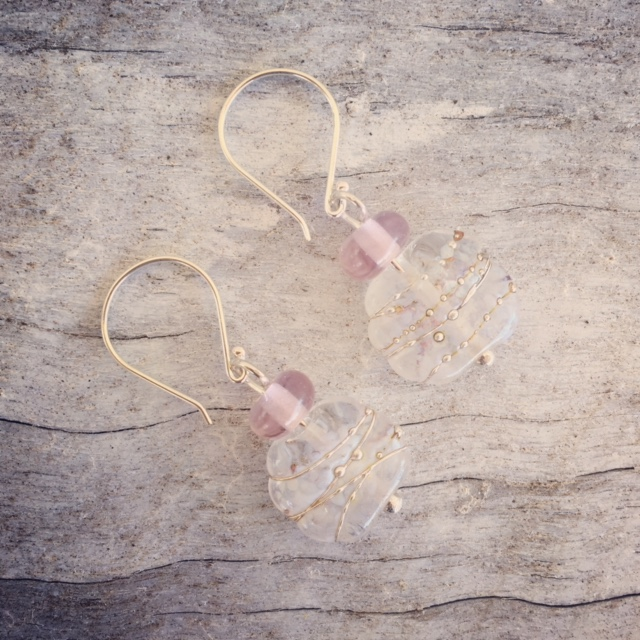 Recycled glass earrings | beads made from a tonic water bottle and a pink Harlequin glass
