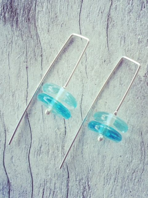Recycled glass earrings | beads made from wine and gin bottles.