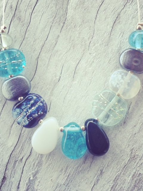 Recycled glass necklace   beads made from wine and gin bottles