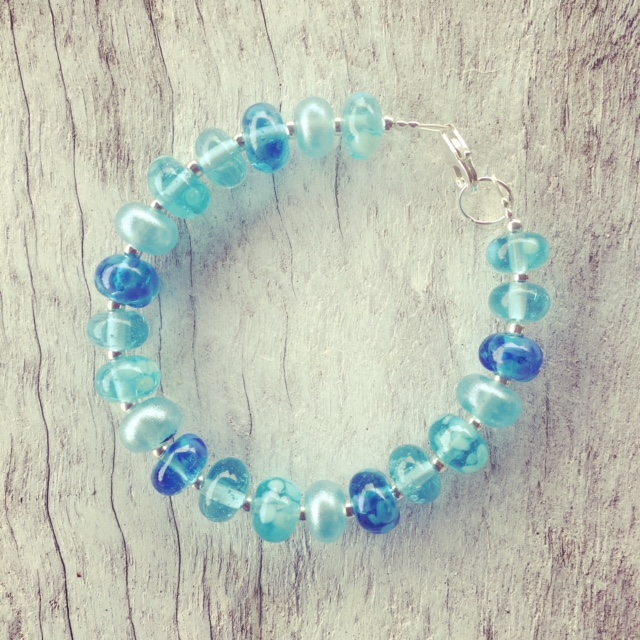 Recycled glass bracelet | beads made from a Bombay Sapphire Gin bottle
