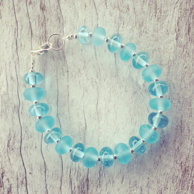 Recycled glass bracelets | beads made from a Bombay Sapphire Gin bottle