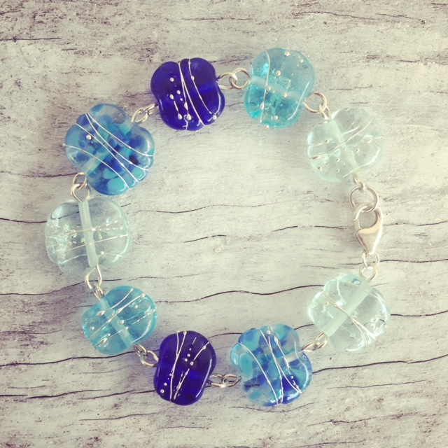 Recycled glass bracelet | beads made from gin, wine and vodka bottles
