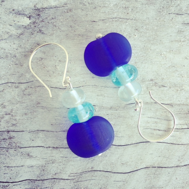 Recycled glass earrings | beads made from a Skyy Vodka bottle