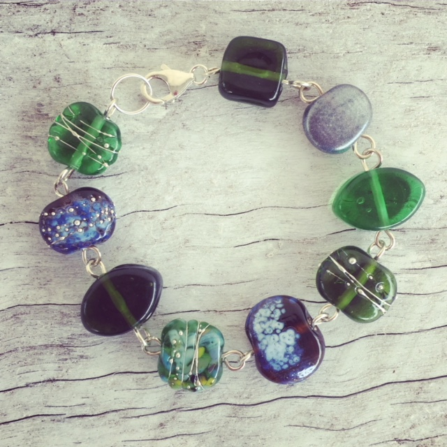 Recycled glass bracelet | beads made from gin and champagne bottles